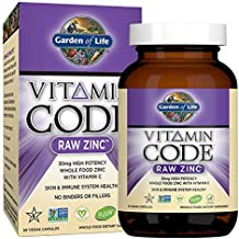 Garden of Life Zinc Vitamin - Whole Food Supplement with Vitamin C, Vegan, 60 Capsules