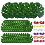 54 Piezas Hojas de Palma Artificiales con Flores de Hibisco hojas de safari de simulación de plantas Decoraciones de Fiesta Tropical para Fiesta Hawaiana de Luau,Bodas,Cumpleaños