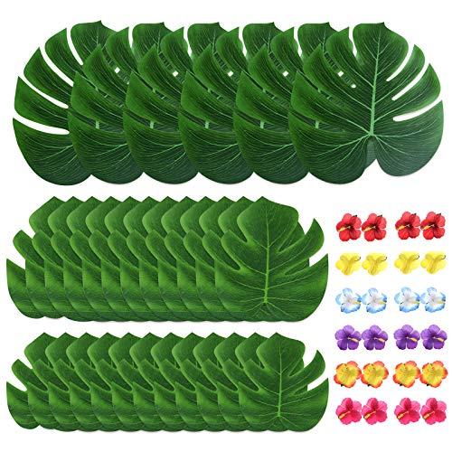 54 Pièces Monstera Tropicales et Fleurs dhibiscus Tropical Luau Party Décoration Fournitures Feuilles de Palmiers Tropicaux de Décoration pour Articles de Fête Hawaïenne Luau Jungle à Thème Plage