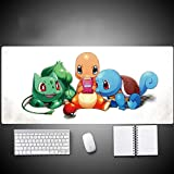 Dmsbzd Pokémon Charmander Squirtle Bulbasaur Game Anime Mouse Pad PC Big Table Pad Size Comfortable Feel Sliding Lock Laptop Keyboard Pad (Color : 700300mm, Size : 3mm)
