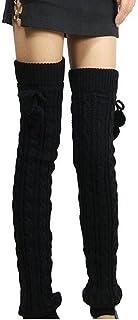 Butterme Womens Extra Grueso Largo De Cable Knit Crochet Knee Calentadores De Pierna Alta con El Otoño De Invierno Knit Calcetines Calcetines De Rodilla