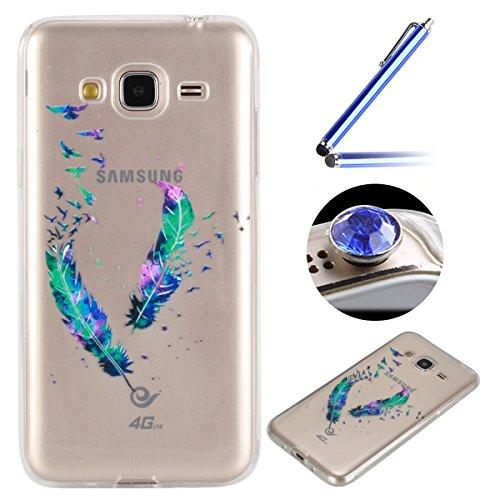 Coque [ Samsung Galaxy J3(2016) ],Etsue TPU Gel Doux Coque Housse étui pour Samsung Galaxy J3(2016),Etui de Protection Cas Ultra-Mince Transparent Bumper Cover pour Samsung Galaxy J3(2016),Anti-rayures Peint Motif Vogue Case Cover Coque de Téléphone pour Samsung Galaxy J3(2016) + 1 x Bleu stylet + 1 x Bling poussière plug (couleurs aléatoires) - espérer de Plume