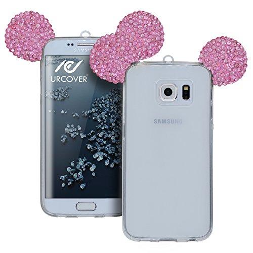 Urcover Custodia Compatibile con Samsung Galaxy S6 Edge Back-Case Orecchie da Topolino in TPU Morbida, Cover Protettiva da Donna ultraslim Flessibile con Strass Brillantini - Fucsia