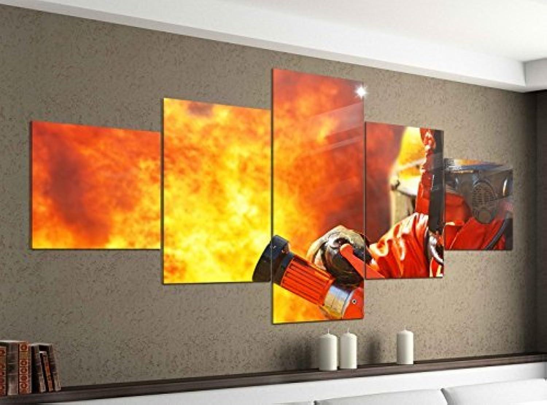 Leinwandbild 5 tlg. 200cmx100cm Feuerwehrmann Feuer Feuerwehr Flamme Bilder Druck auf Leinwand Bild Kunstdruck mehrteilig Holz 9YA149, 5Tlg 200x100cm 5Tlg 200x100cm