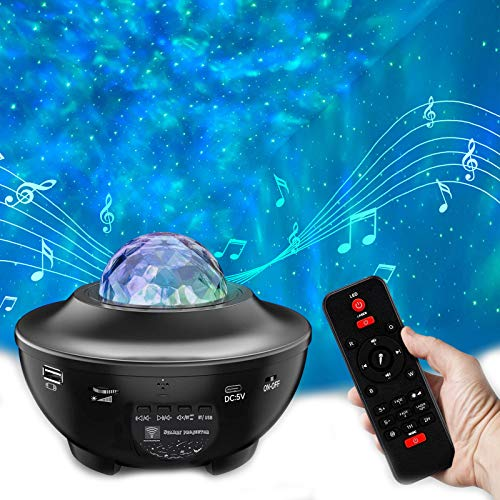 Star Projector Night Light Projector - Galaxy Light Projector for Bedroom Starlight Projector with LED Nebula Ocean Wave Bluetooth Speaker Timer Setting Room Decor for Adults Kids