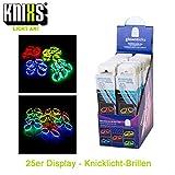 KNIXS 25iger Knicklicht-Brillen Display im 5-Farb-Mix (rot, grün, blau, gelb und orange), intensiv...