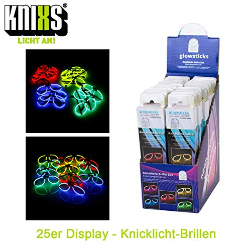 KNIXS 25iger Knicklicht-Brillen Display im 5-Farb-Mix (rot, grün, blau, gelb und orange), intensiv leuchtende Partybrille, Partyspaß garantiert, geprüfte Markenqualität