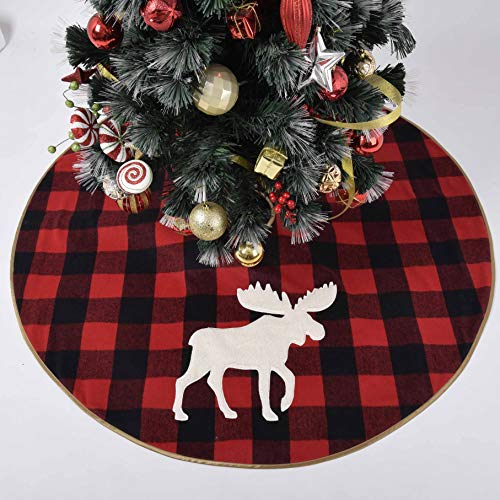 Gireshome Buffalo Check Plaid,Yarn-Dyed Style with White Sherpa Reindeer Applique Embroidery,Reverse to Ploar Fleece Christmas Tree Skirt -48inch