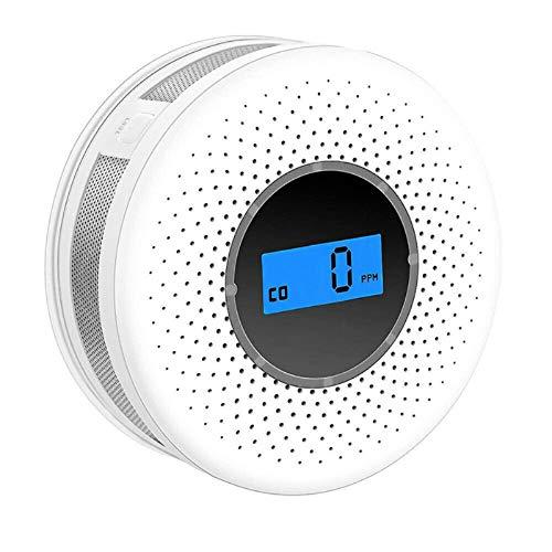 Rauchmelder aus Kohlenmonoxid-Verbundwerkstoff, digitaler 2-in-1-LED-Gasrauchmelder, Sprachwarnsensor Schutz der Sicherheit zu Hause