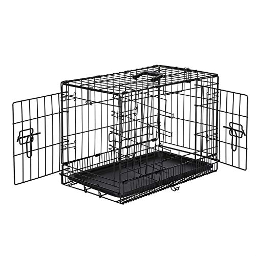Amazon Basics Double-Door Folding Metal Dog or Pet Crate Kennel with Tray, 13 x 16 x 22 Inches