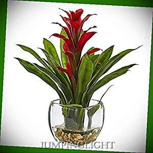 JumpingLight Bromeliad with Vase Arrangement Artificial Flowers Wedding Party Centerpieces Arrangements Bouquets Supplies