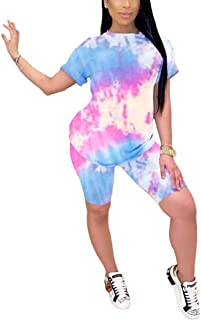 Remelon Women's Two Piece Tie Dye Outfits Summer Casual Colorful Printed Crop Tops Tracksuit Skinny Shorts Tracksuit Set