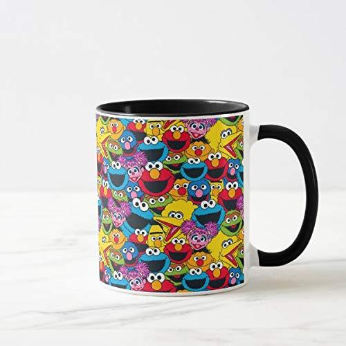 CiCiDi Kaffeetasse mit Sesamstraßen-Motiv, zweifarbig, Geschenkidee für Männer und Frauen, Keramikbecher, 313 ml