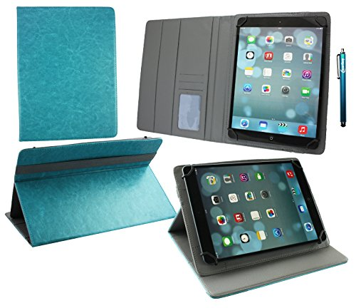 Emartbuy® Alcatel OneTouch Pixi 3 10 Zoll Tablet Universal ( 9 - 10 Zoll ) Türkis PremiumPULederMulti-AngleExekutiveFolioGeldbörseTascheHülle Grey InnenraummitKartensteckplätze + Türkis Eingabestift