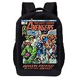 MARVEL COMICS RETRO LOGO BACKPACK - MARVEL BLACK RETRO LOGO 18 INCH AIR MESH PADDED BAG (Retro Avengers Comic Cover)