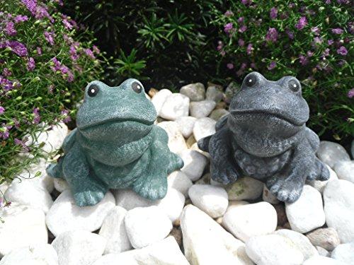 Steinfiguren Spicker Steinfigur Frosch 2er Set 129/1, 129/4, Gartenfigur Steinguss Tierfigur Basaltgrau, Grün Patina