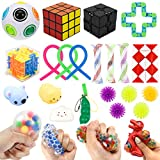 Sensory Fidget Toy Set, 25pcs Stress Relief and Anti-Anxiety Tools Bundle for Kids and Adults, Mesh and Marble Infinity Cube Fidget Toy Kit