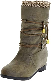 haoricu Women's Plus Size Boots Ladies Casual Round Toe Inner Heightening Shoes Mid-Tube Shoes