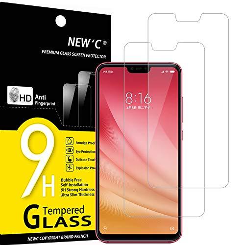 NEW'C 2 Stück, Schutzfolie Panzerglas für Xiaomi Mi 8 Lite, Mi 8X, Frei von Kratzern, 9H Festigkeit, HD Bildschirmschutzfolie, 0.33mm Ultra-klar, Ultrawiderstandsfähig