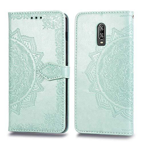 Bear Village Hülle für OnePlus 6T, PU Lederhülle Handyhülle für OnePlus 6T, Brieftasche Kratzfestes Magnet Handytasche mit Kartenfach, Grün