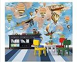 Papeles Pintados A Mano Lindos Animalitos Y Globos De Barcos Papel Tapiz De Fondo De La Habitación De Los Niños-200 * 140Cm