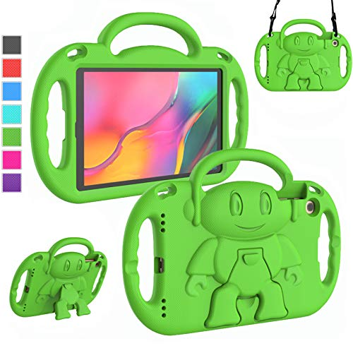 LTROP Kids Case for Samsung Galaxy Tab A 10.1' Tablet(2019) SM-T510/T515, Light Weight Shockproof Case Shoulder Strap Handle Stand Child-Proof Bumper Case Cover for Galaxy Tab A 10.1 (Green)
