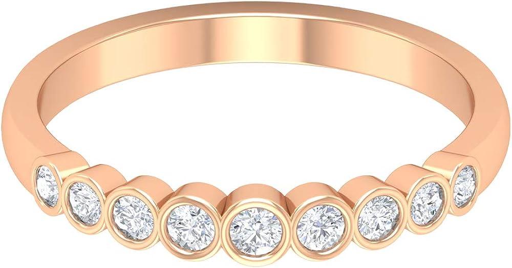 Bezel Set Eternity Band, HI-SI 1/4 CT Round Shape Diamond Ring, Minimal Wedding Band, Bridesmaid Stackable Ring, Dainty Anniversary Ring, Promise Ring, 14K Gold