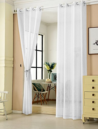 WOLTU® VH5862ws-2, 2er Set Gardinen transparent mit Ösen Leinen Optik, Doppelpack Ösenschal Vorhang Stores Voile Fensterschal Dekoschal für Wohnzimmer Kinderzimmer Schlafzimmer, 140x225 cm, Weiß