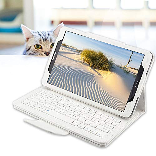 REAL-EAGLE Galaxy Tab A 10.1 Keyboard Case(SM-T580/T585, 2016 NO S Pen Version), Folio PU Leather Case Cover with Detachable Wireless Keyboard for Samsung Galaxy Tab A 10.1 2016, White