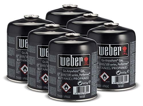 Weber 26100 Gas-Kartusche für Q 100-/1000-Serie, Performer Deluxe GBS und Go-Anywhere, 445g, 6 Stück