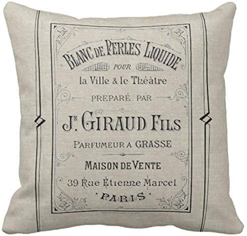 BONRI Throw Pillow Cover Anuncio Vintage Anuncio de Perfume francés París Francia Elegante Funda de Almohada Decorativa Decoración para el hogar Cuadrado , (16'x16 / 40x40cm