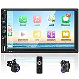 Radio de coche doble Din con Carplay y Android Auto - Reproductor MP5 con pantalla táctil HD de 7 pulgadas con Bluetooth, audio FM, enlace espejo, estéreo con cámara de respaldo AHD, micrófono externo