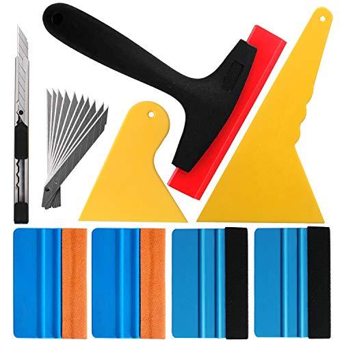 Gebildet 9 in 1 High-End-Werkzeugset für Autofolie/Tönungsfolie/Sonnenschutzfolie Installation mit Faserrand Rakel, Wildlederrakel,Gummi Rakel, Hard PP Rakel,Utility Messer