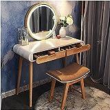 SKUN Tocador de maquillaje para dormitorio, tocador con espejo y 2 cajones, mesa de maquillaje blanca para mujer, tocador multifuncional