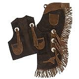 Tough1 Longhorns Youth Vest/Chap Set Large Brown
