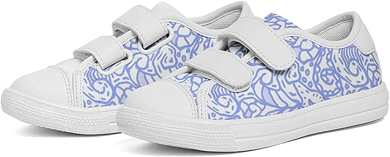 Kids Velcro Sneaker Canvas Shoe Adjustable Strap Athletic Shoe for Boys Girls