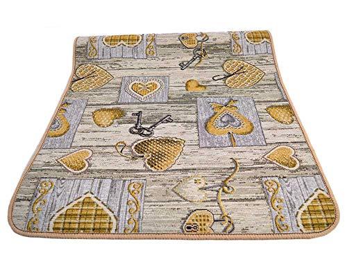 Centesimo Web Shop Tappeto GOMMATO in 7 Misure - Multiuso PASSATOIA Tappetino Cucina Fantasia Shabby Chic Cuori - - 55x140 cm Giallo