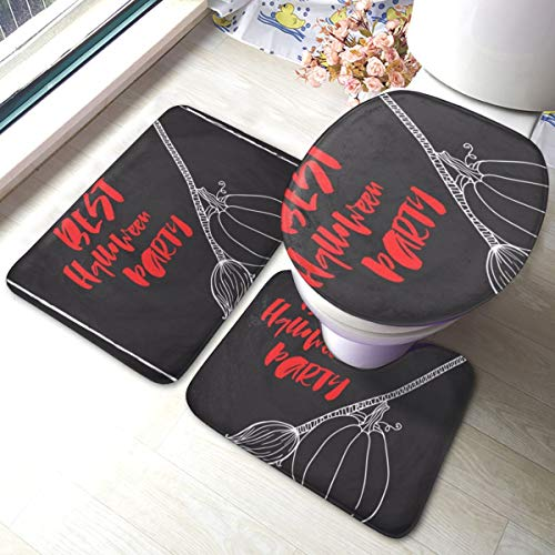 Best Halloween Party Pattern 3 Pieces Bathroom Rugs Set Pad Non Slip Bath Mat Toilet Lid Cover U-Shaped Contour Toilet Rug Set Washable for Tub, Shower, Bathroom