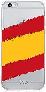 Funnytech® Funda Silicona para iPhone 6 Plus / 6S Plus [Gel Silicona Flexible, Diseño Exclusivo] Bandera España Transparente