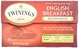Twinings English Breakfast Tea, Decaffeinated, Tea Bags, 20 ct