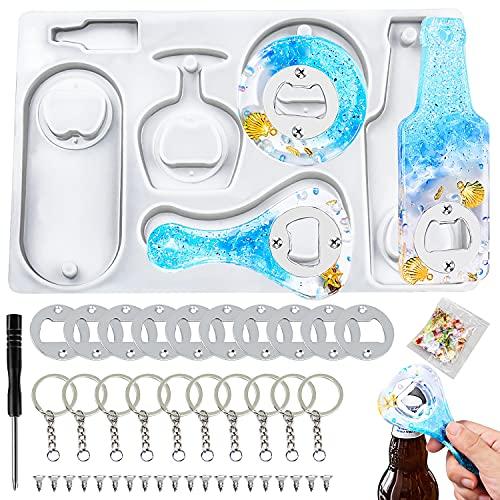 Resina Stampo per apribottiglie Kit di stampi per apribottiglie in resinaapribottiglie stampi in silicone apribottiglie fai da te in resina stampo incl accessori apribottiglie in silicone
