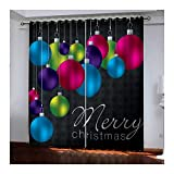 Daesar Cortinas Opaca Habitacion Multicolor Cortina de Salon Poliester Bolas de Decoración Navideña Merry Christmas 274x115CM