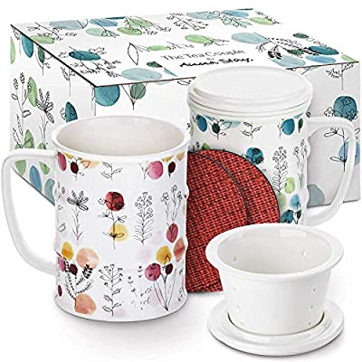 The Tea Couple Tea Infuser Mug (Set of 2) 14 oz. Vintage Porcelain Tea Cups w/Ultra-Fine Mesh for Steeping - 2 Heat-Resistant, Non-Slip Drink Coasters - Reusable Home & Office Drinkware (FREEDOM)