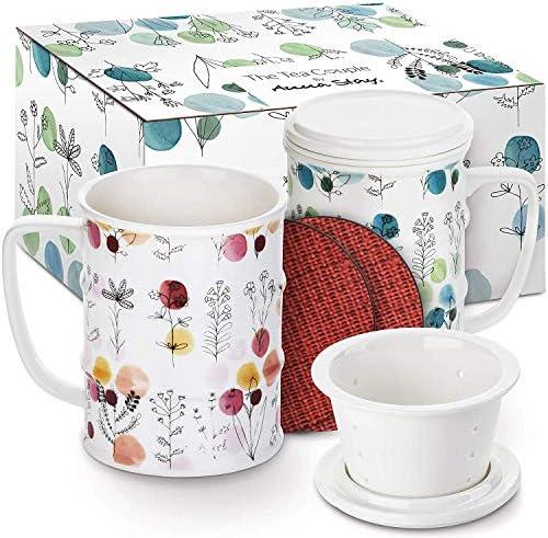 The Tea Couple Tea Infuser Mug Set of 2 14 oz Vintage Porcelain Tea Cups w Ultra Fine Mesh for product image