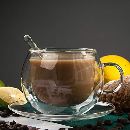 BBTY 400 ml Espresso Transparente con Mango es Muy Adecuado para la Taza de café con Leche Copa de Leche Taza de Desayuno Copa Capuccino Taza de té Taza de té Jugo de Taza de té o Bebida Caliente