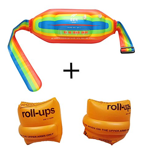 Topsung Inflatable Water Flotation Swim Waist Belt Swimming Vest and Arm Bands Floatation for Kids and Adults (Orange)