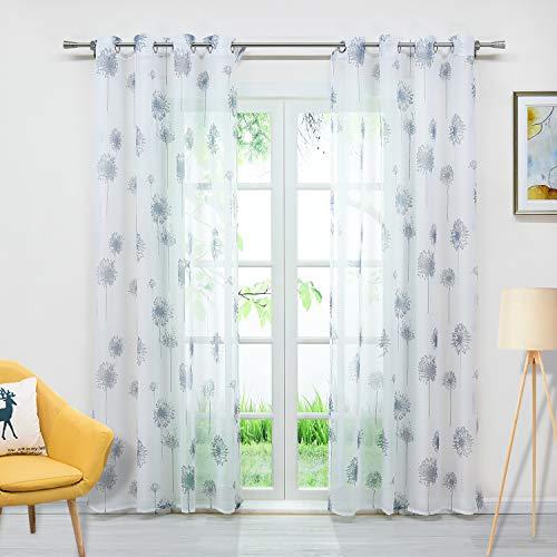 Delien Voile Gardine mit Pusteblume-Motiven Druck transparenter Vorhang mit Ösen Wohnzimmer Gardinenschals BxH 140x245cm Weiß 1 Stück