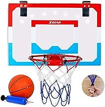 XGEAR Indoor Mini Basketball Hoop - Pro Style Steel Durable Rim - Over-The-Door Shatterproof Backboard(18'' x 12'') - with Ball and Pump - for Kids Adults Indoor