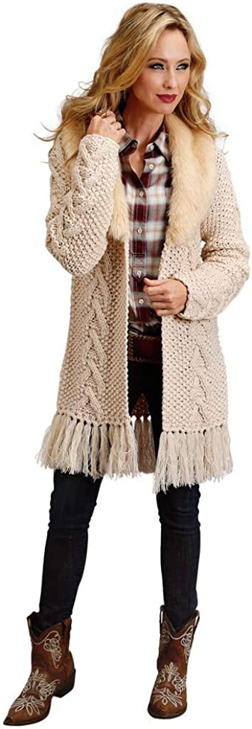 Stetson Women's Cable Knit Faux Fur Cardigan