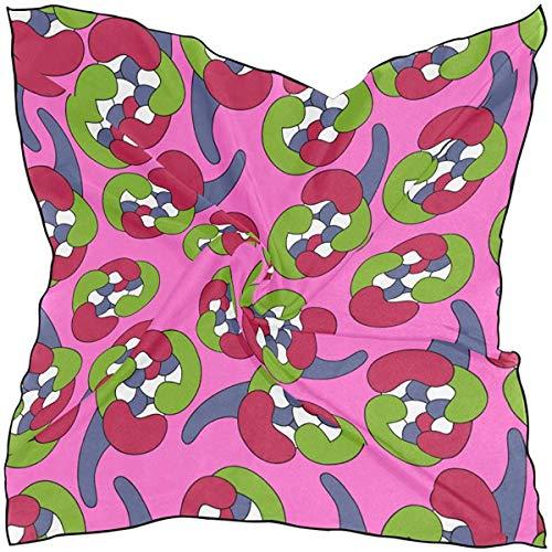 Xukmefat Frauen weichen Polyester Seide quadratischen Schal Fliese Design-Stil kreative Retro-Mode Druckkopf Haar Schal Halstuch Schals acc